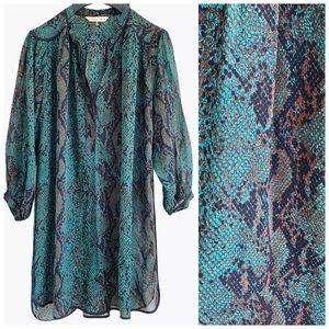 Rebecca Taylor Snakeskin Chiffon Tunic Dress